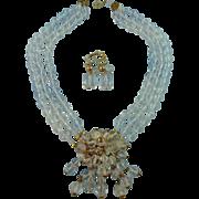 Designer Signed Vendome Three Strand Faceted Crystal & Goldtone Drop Front Statement Necklace set