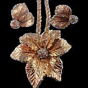 Signed Judy Lee Golden Rhinestone Leaf Brooch/Pin Pendant Necklace Set