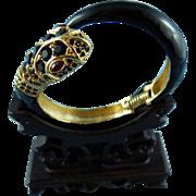 Signed Kenneth Lane Black Enamel & Crystal Rhinestone Snake Hinged Cuff Bracelet