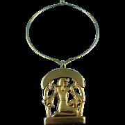 Stunning Signed KJL Kenneth Jay Lane Golden Egyptian Statement Necklace