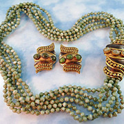 Designer Signed Luisa Conti Variegated Moss Green Glass Statement Demi Parure