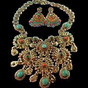 Signed RJ Graziano Runway Worthy Southwestern Style Turquoise & Multi Colored Glass Gemstone Bib Necklace Set