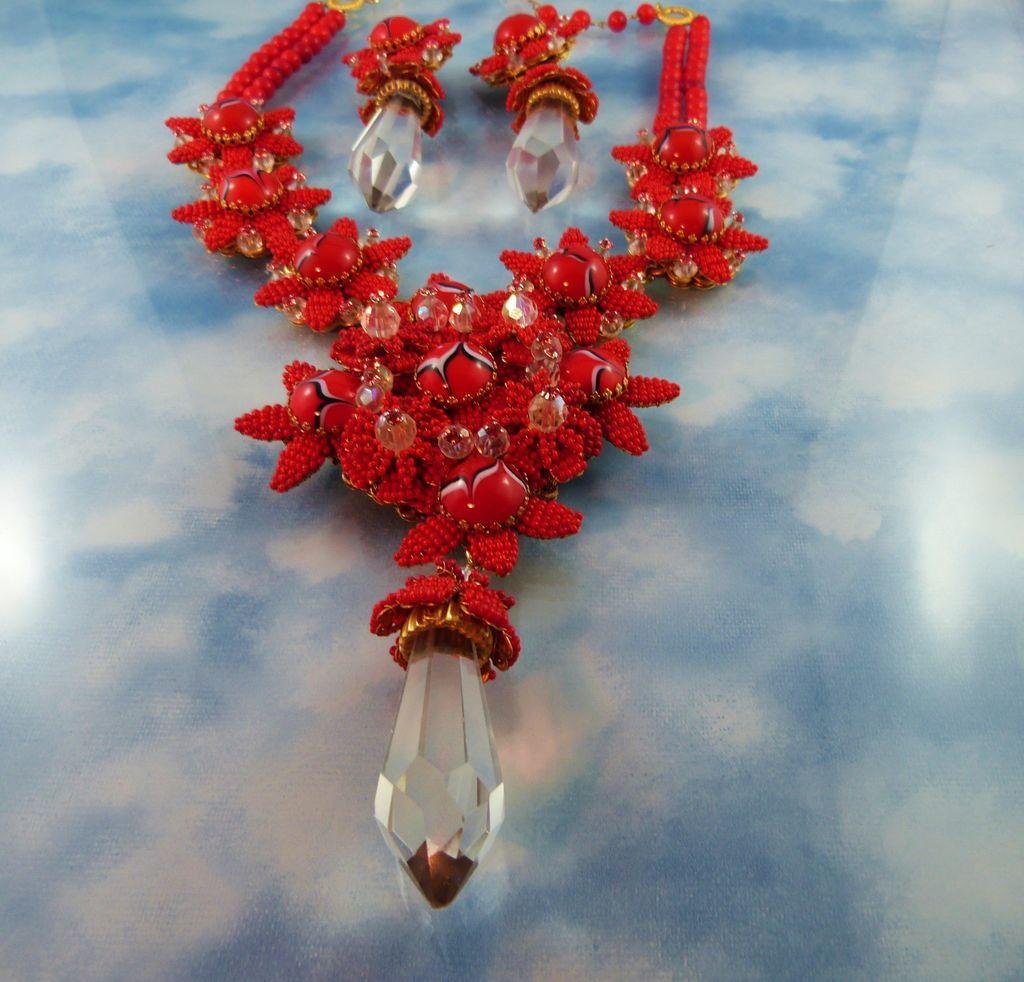 Designer Signed Stanley Hagler Red Swarovski Crystal