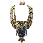 Signed Lawrence Vrba Couture Tribal Design Statement Necklace Set