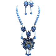 Signed Stanley Hagler Carolina Blue Moonstone & Marquis Rhinestone Necklace Set