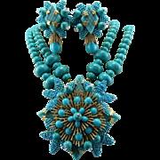 Signed Stanley Hagler Turquoise Gemstone Floral Statement Necklace Set