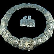 Sterling Silver Filigree Statement Necklace Set - 136 grams