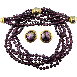 Designer Signed Les Bernard Purple Amethyst Glass Bead Statement Necklace Bracelet & Earring Set