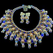 Signed Butterfly Blue Design Cobalt Blue & Amber Cloisonne Bead Bib Front Statement Necklace Set