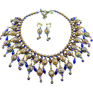 Signed Butterfly Blue Design Cobalt Blue & Amber Cloisonne Bead Bib Front Statement Necklace Set