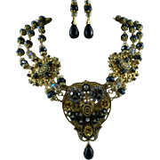 Signed Victorian Style Golden Filigree Crystal Multi-Strand Statement Necklace & Earring Set