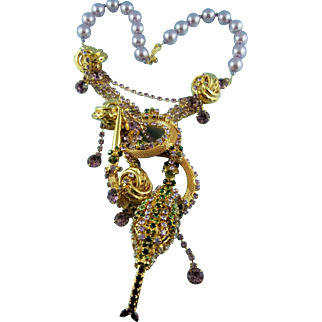 "Designer Ken Morrison Glass Pearl And Crystal Statement ""Serpent Garden"" Necklace"