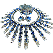 Designer Signed Robert Sorrell Sapphire Blue White Opal Ice Crystal Statement Necklace Set