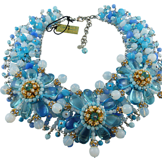 Signed FM Paris Couture Runway Sky Blue Crystal Explosion Necklace