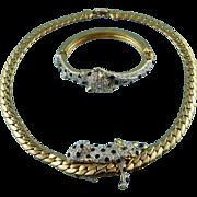 Signed Carolee Duchess Of Windsor Collection Crystal Panther Necklace / Bracelet Set Mint