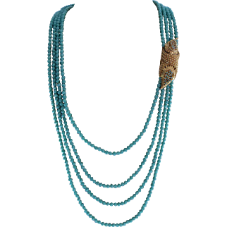 Signed Judith McCann Multi - Strand Faceted Turquoise Glass Bead Necklace With Large Decorator Clasp Circa 1955/75