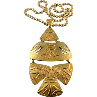 Signed Castlecliff Huge Asian Inspired Pendant Necklace Circa 1970