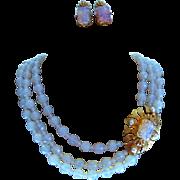 Signed Castlecliff Multi Strand Opalized Milk Glass Necklace Set
