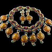 Designer Signed Butterfly Blue Vintage Art Glass Necklace Set