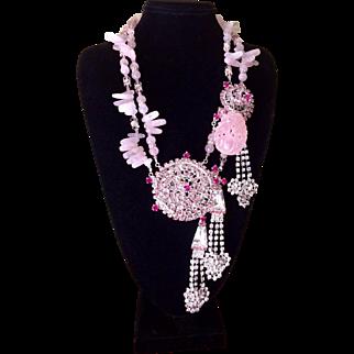 Ken Morrison Rose Quartz Crystal Elegance Statement Necklace & Earrings Set
