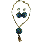Vintage  Enamel And Crystal Sphere Necklace & Earring Set