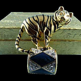 KJL Kenneth Lane Rare Jeweled Circus Tiger Pin : Book Piece