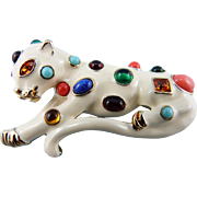 KJL Fantasy Cat Jeweled Leopard Pin/Brooch : Book Piece