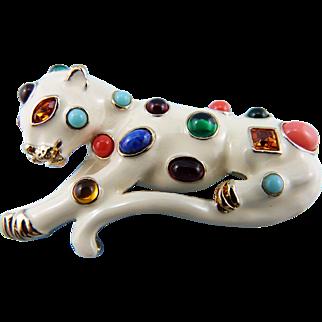 KJL Fantasy Cat Jeweled Leopard Pin/Brooch : Book Piece
