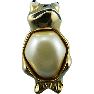 KJL Charming Glass Pearl Pot Belly Froggie Pin/Brooch Book Piece