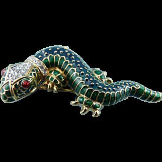 KJL Leaping Lizard Brooch/Pin Book Piece