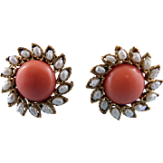 Swoboda Fresh Water Pearl & Coral Post Earrings