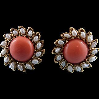Swoboda Fresh Water Pearl & Coral Post Earrings