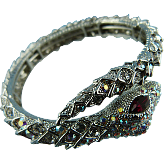 Butler And Wilson Silver Plated Aurora Borealis Crystal Snake Flexible Cuff Bracelet