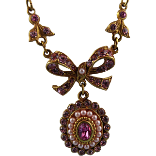 Butler And Wilson Dainty Victorian Style Gold Plated Austrian Crystal & Seed Pearl Pendant Necklace