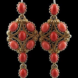 KJL San Marco Coral Cabochon Chandelier Earrings Book Piece