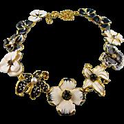 Signed KJL Kenneth Jay Lane Gold Tone Enamel Floral Statement Necklace Book Piece