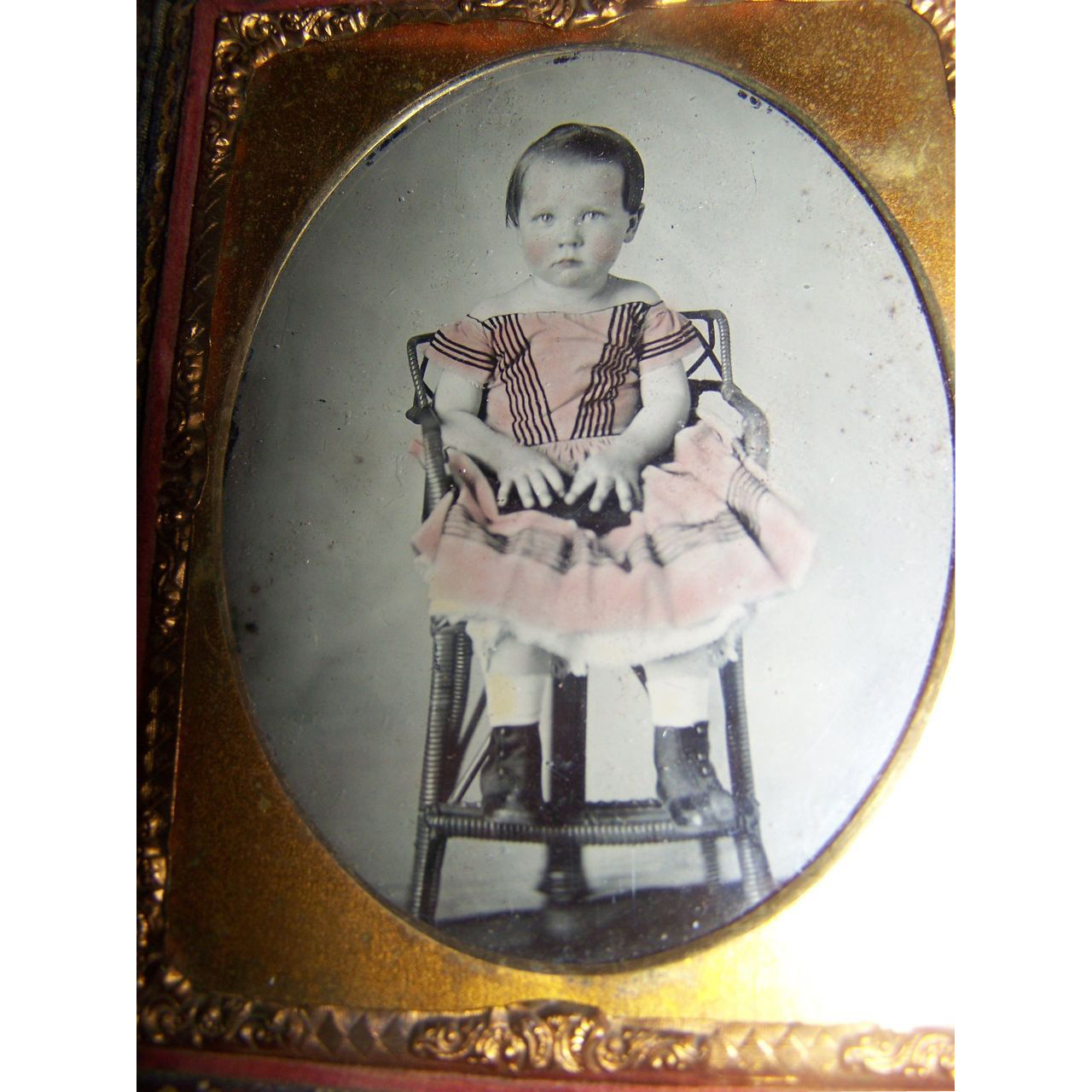 Tinted Ambrotype Child Girl 1850 S Sweet Little Doll Sold