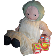 Adorable Old Cloth Straw Stuffed Doll Free USA Ship