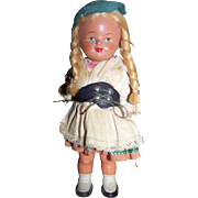 German Wind-Up Celluloid Doll With Key