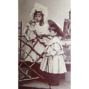 Tintype Antique Photo Young Children With Bisque Doll FREE USA Ship