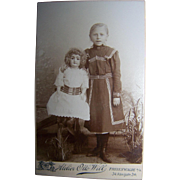 Large German Bisque Doll With Young Girl CDV Photograph