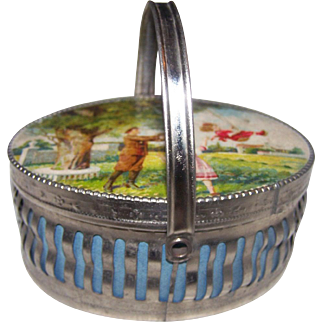 Adorable German Tin Litho Basket Container Doll Accessory