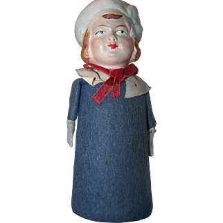 Paper Mache German Doll Rattle Side Glancing Eyes