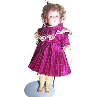 "MOA German 7 1/2"" German Bisque Head Wood Body Doll"