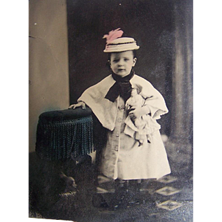 Tintype Girl With China Head Doll Photo