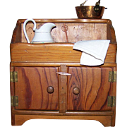 Pine Doll Dry Sink Furniture Miniature With Accent Pieces