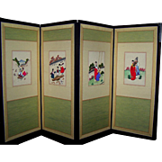 Oriental Four (4) Panel Screen Doll Screen Backdrop Table Top or Hang