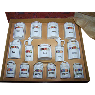 Complete Miniature Canister/Spice Set Original Box