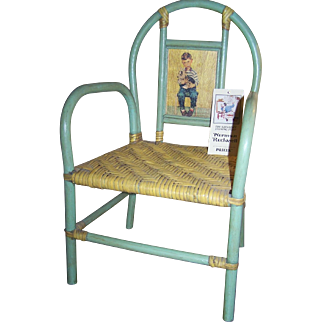 Rare Hard To Find Palecek Childs Dolls Chair Handcrafted Norman Rockwell