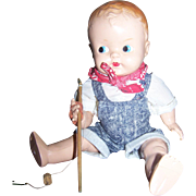 Ideal Celluloid Boy Fisherman Doll 11""